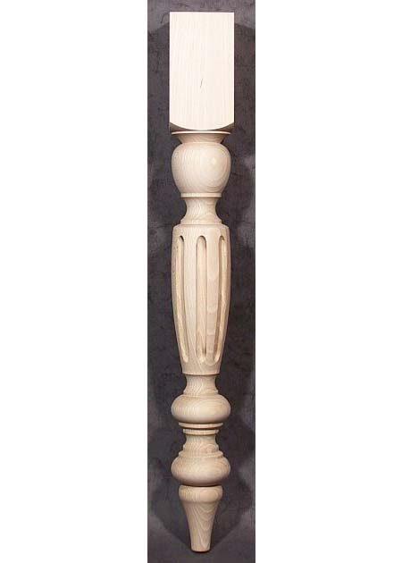 Pied de table bois avec larges cannelures TL75