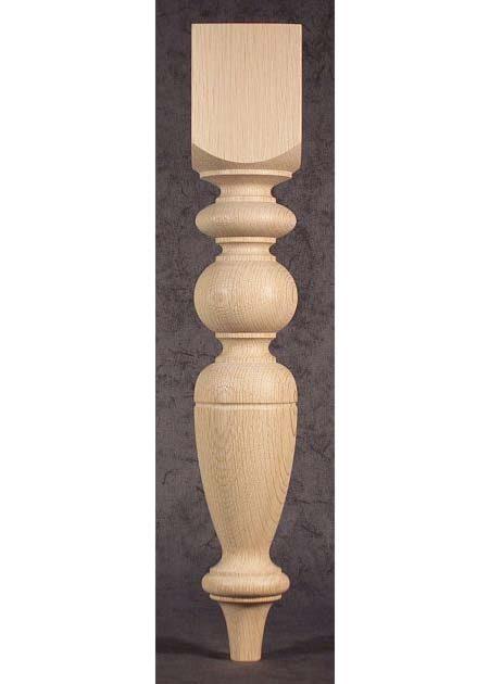 Pied de table en bois decore de boule et d anneau TL40