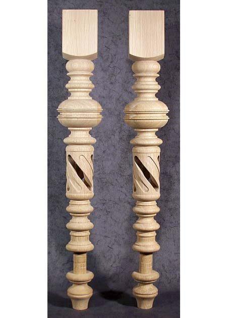 Pied de table en bois, troue au milieu TL08