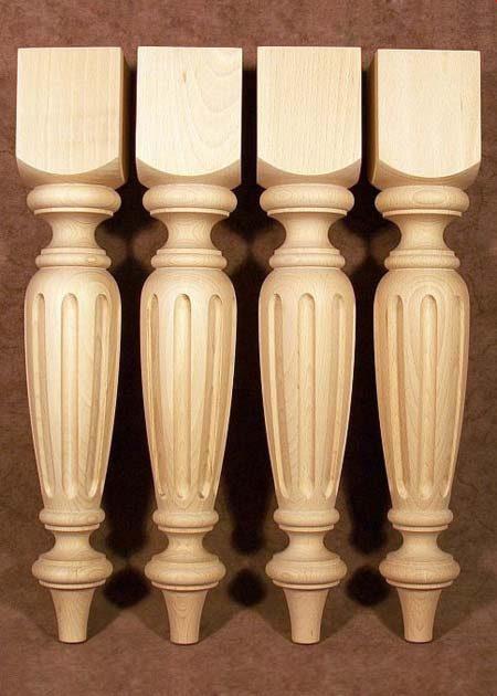 Pieds de table bois Louis XVI, chene TL37