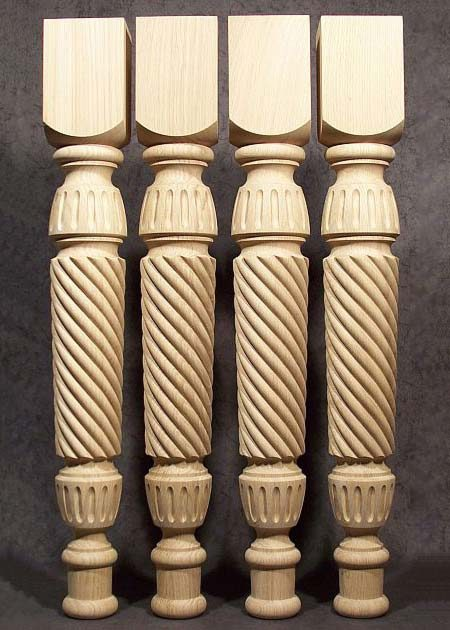 Pieds de table bois decores de motif de corde TL19