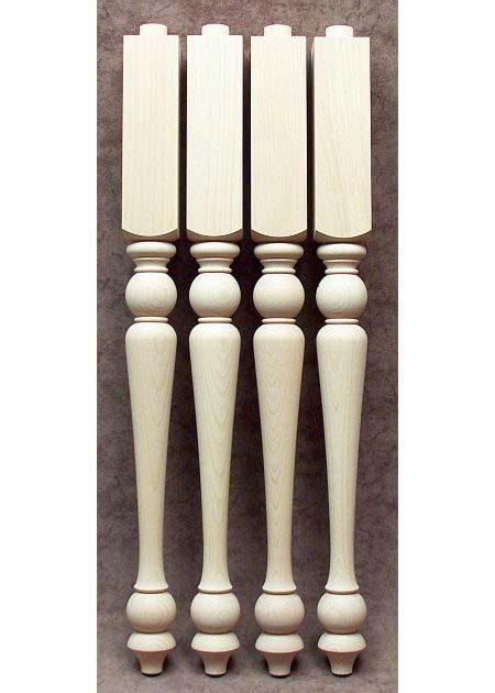 Pieds de table bois, minces, avec partie carree en haut TL49