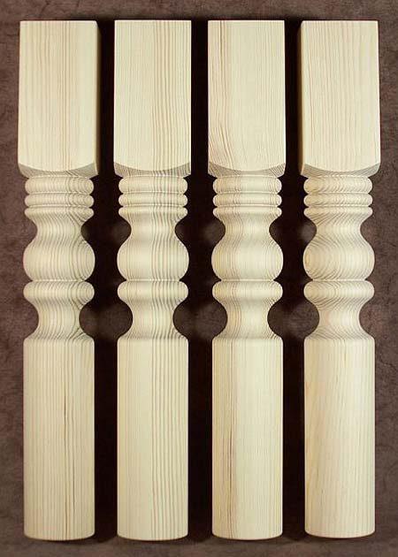 Pieds de table en bois finissant en cylindre TL53